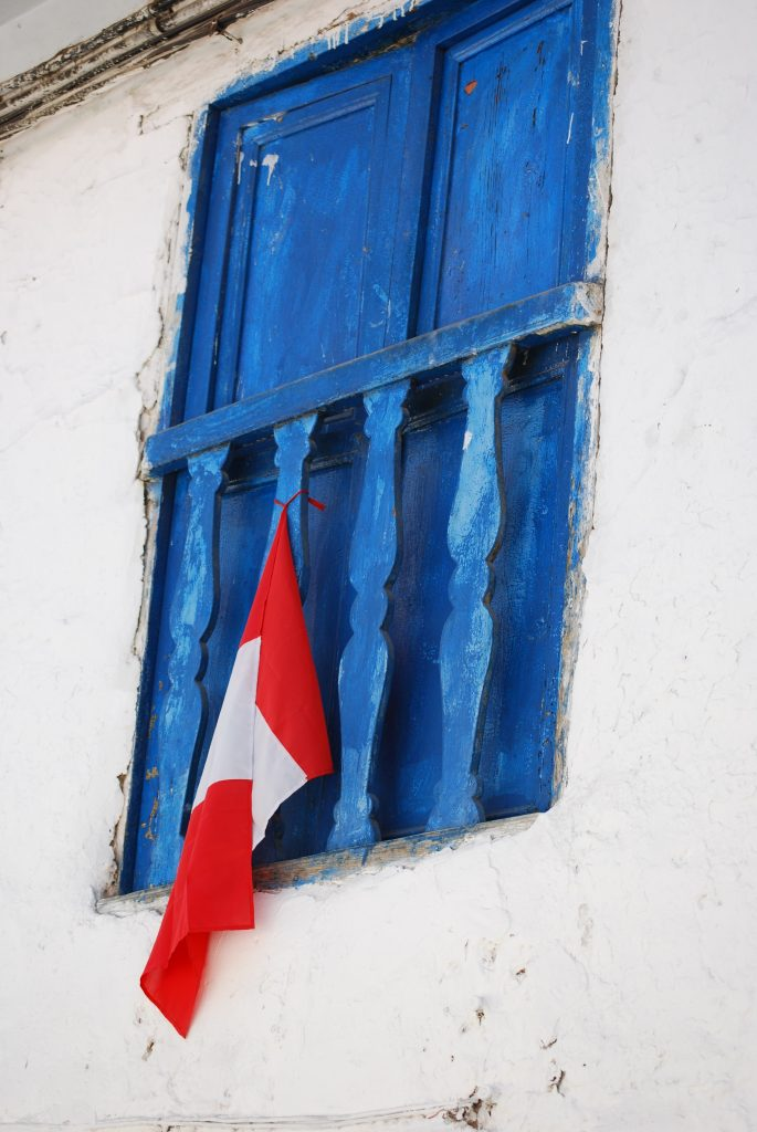 Classic Upstairs Window and Flag, Cuzco, Peru
