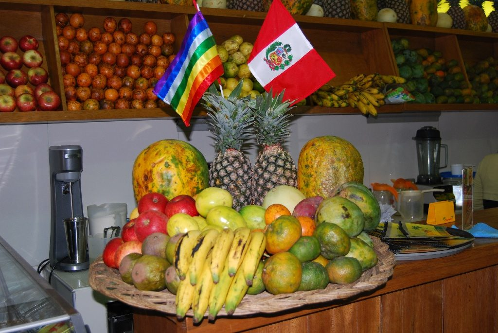 Peruvian Flag and Cusco Flag with Fruit