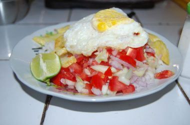 Rice with Fried Eggs and Salad