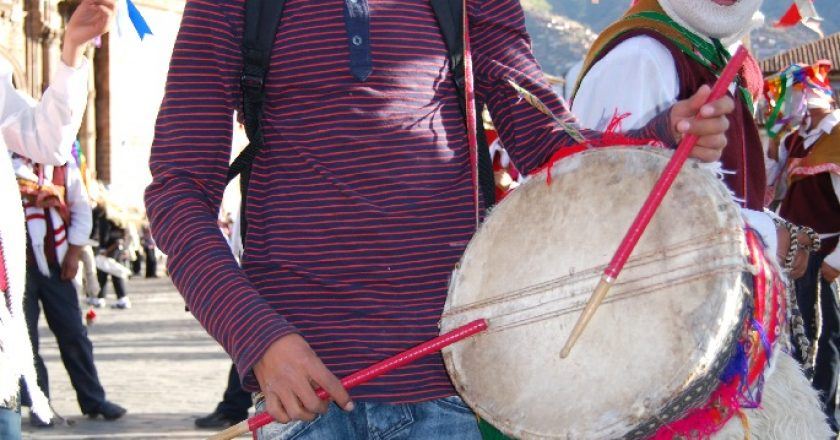 Brayan Coraza Playing His Drum