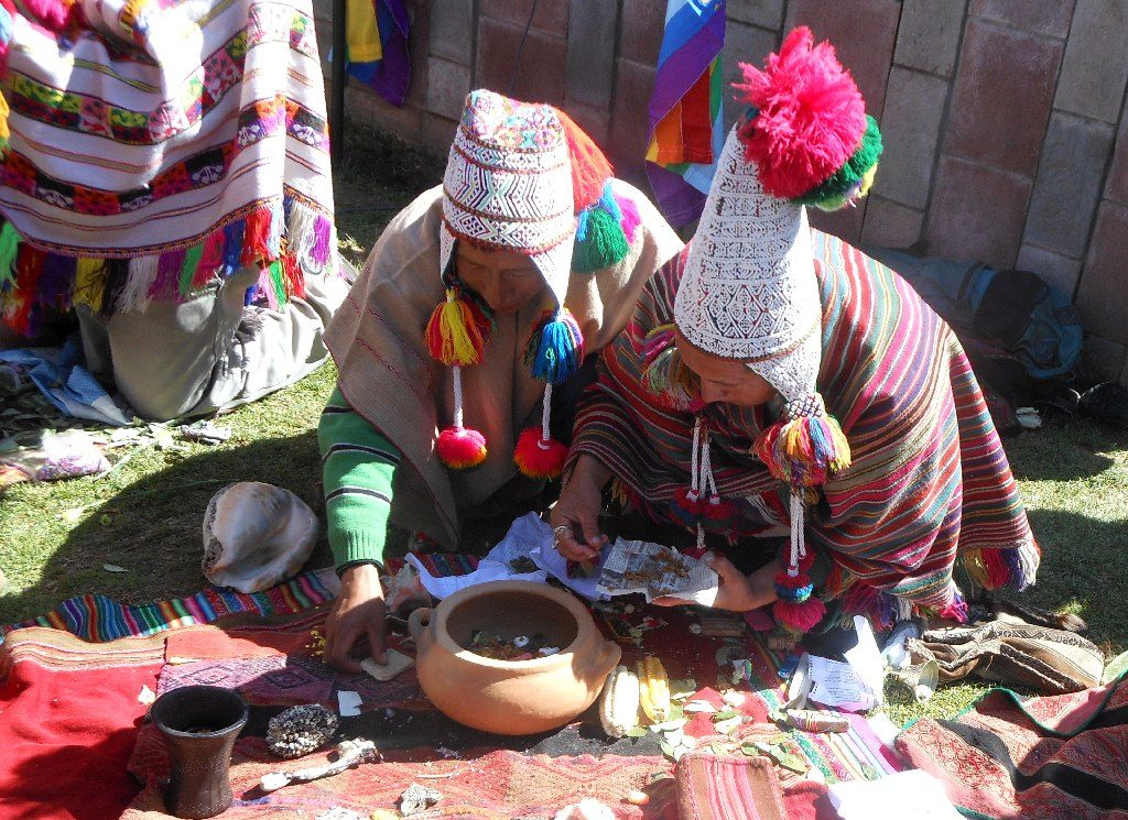 Indigenous Men Preparing Official Offering on Day of Pachamama, Cuzco
