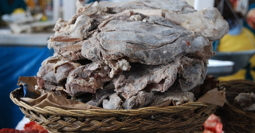 Salted Chalona (Charqui) in the Market Ready for Purchase