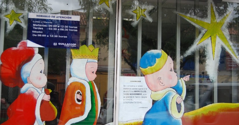 Three Kings on a Store Window