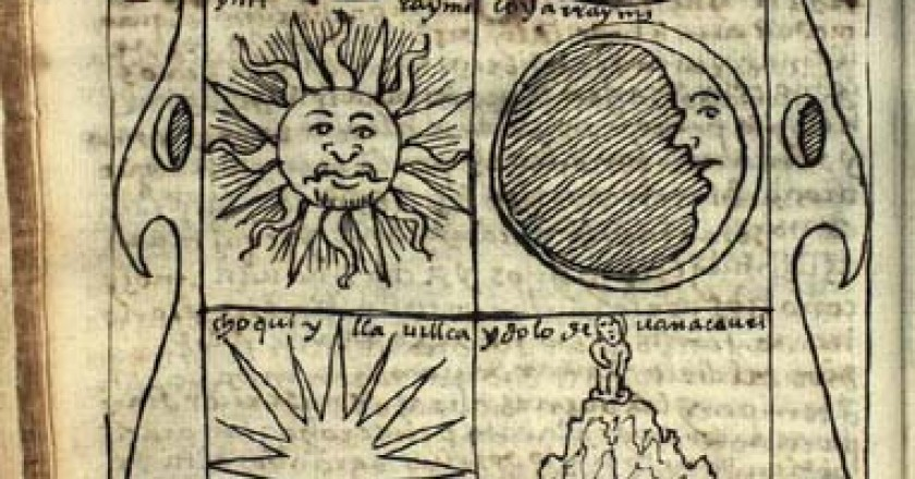 Guaman Poma's Drawing of the Two Suns and Pacariqtambo (http://www.kb.dk/permalink/ 2006/poma/79/en/text/?open=id2970453)