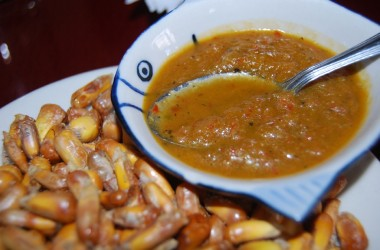Canchitas, Parched Corn, with Hot Sauce