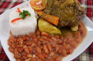 Seco de Cordero and Frijoles with Rice