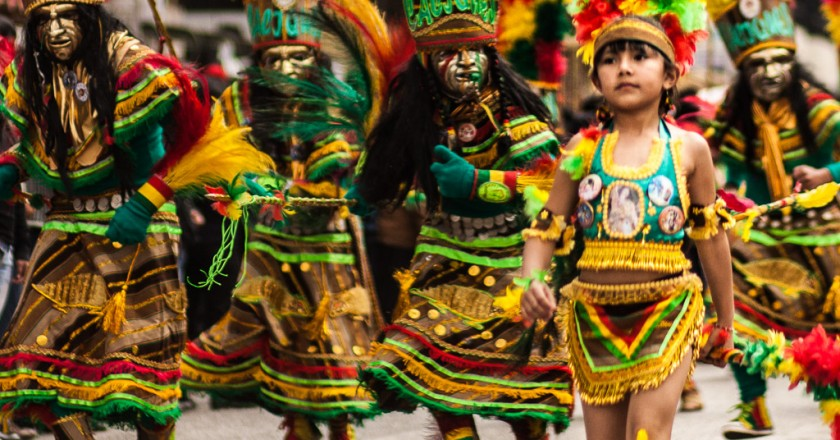 A troop of dancers representing Lowland Indians led by an Indian princess (Photos by Alonzo Riley)