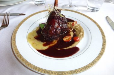 Lamb Shank with Pear and Lentil Purees