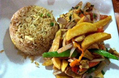 Arroz Chaufa with Chicken Lomo Saltado in Chifa Lymy