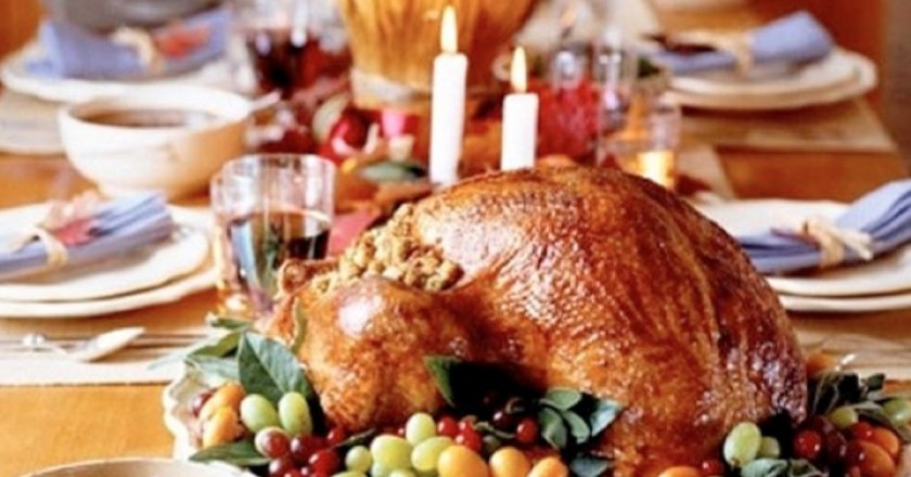 The Christmas Turkey in the Center of the Table