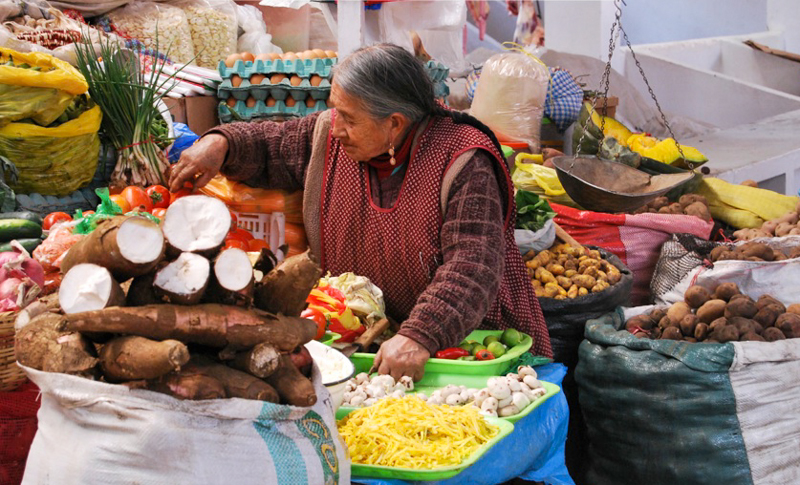Yucca and Potatoes Brighten Cuzco Markets