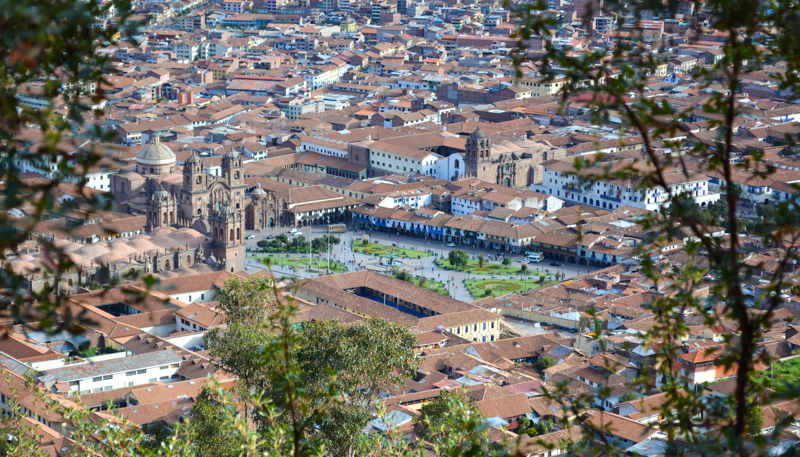 A View of Cuzco´s Plaza de Armas from Cristo Blanco Overlook