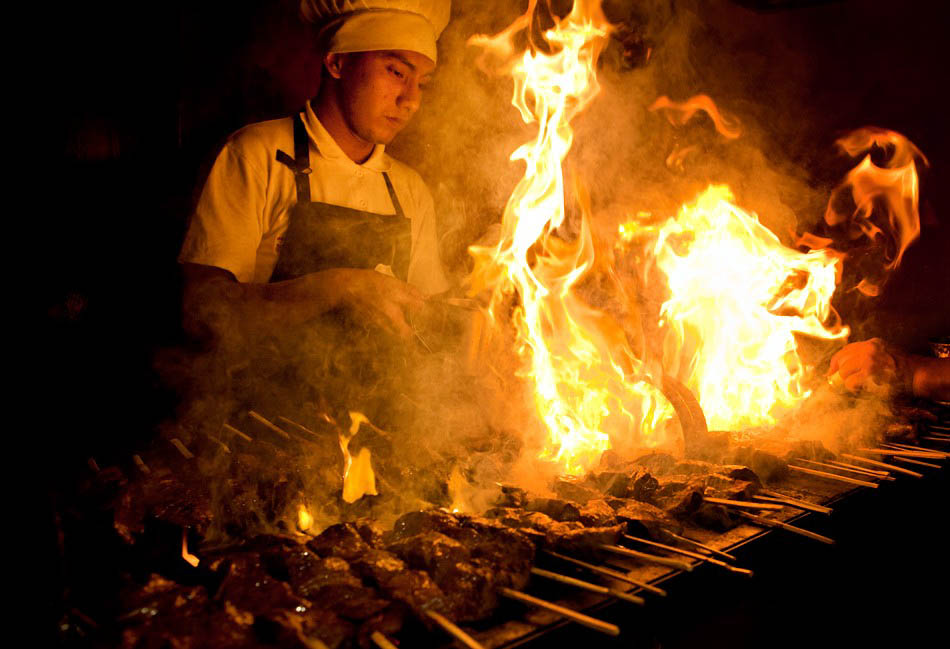 Flaming Anticuchos on a Cuzco Street