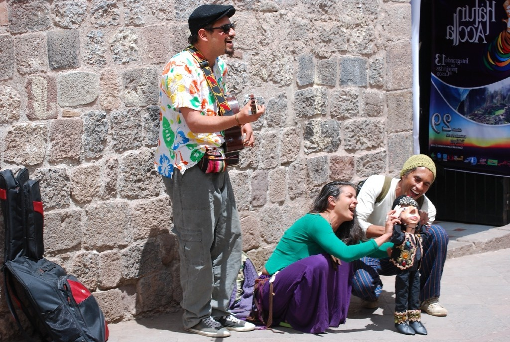 Huachafos Playing Music in a Cuzco Street