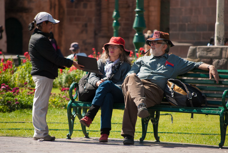 Gringos Taking a Rest in the Plaza de Armas
