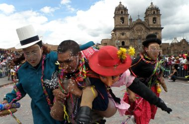 Playing the Carnival in the Plaza de Armas