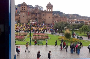Cuzco's Plaza with Dancers in Parade (David Knowlton)