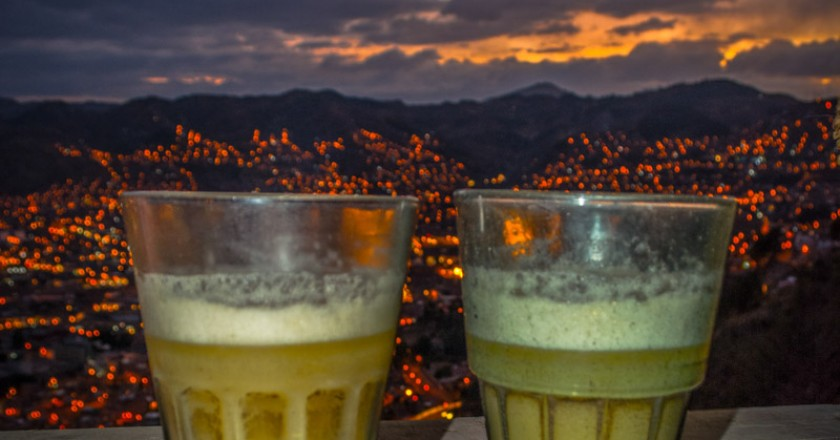 """Chicha in traditional glasses called """"Caporales"""""""