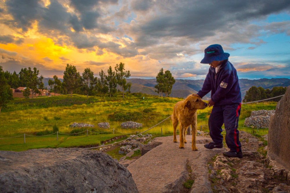 A Moment for a Boy and His Pet, Sunset in Cusco