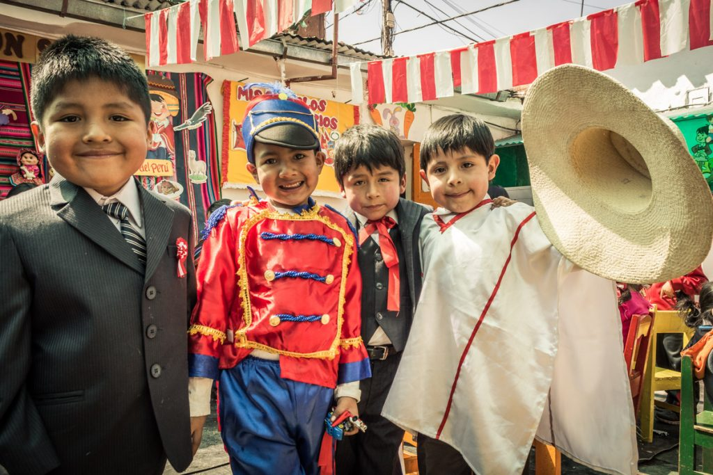 Kinder Garden Students Performing During the Independence Day of Peru