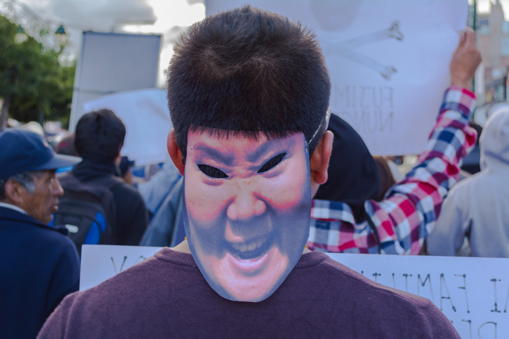 A Keiko Mask at the Protest (Hebert Huamani)