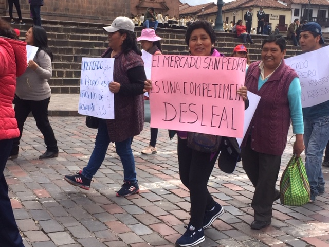 Protest in Cusco , San Pedro Market