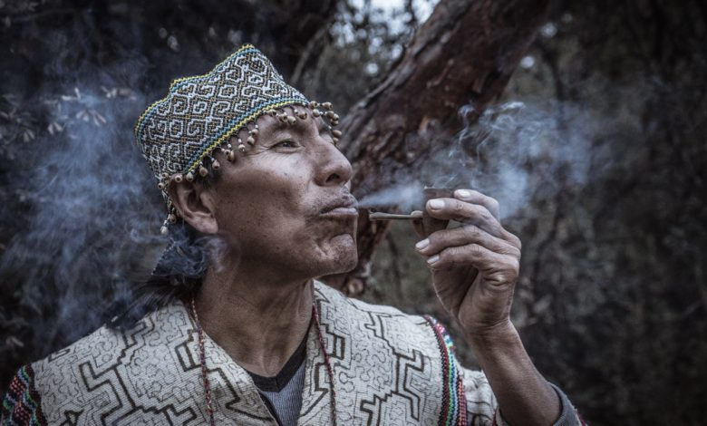 A Shaman Smoking Natural Mapacho