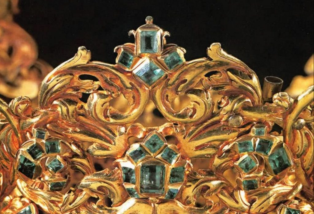 Detail of Emeralds and Gold from the Crown of the Andes