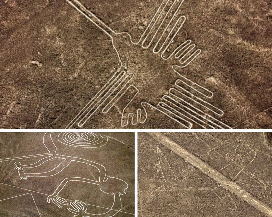 Nazca Lines: Monkeys, Hummingbirds, and even Whales.