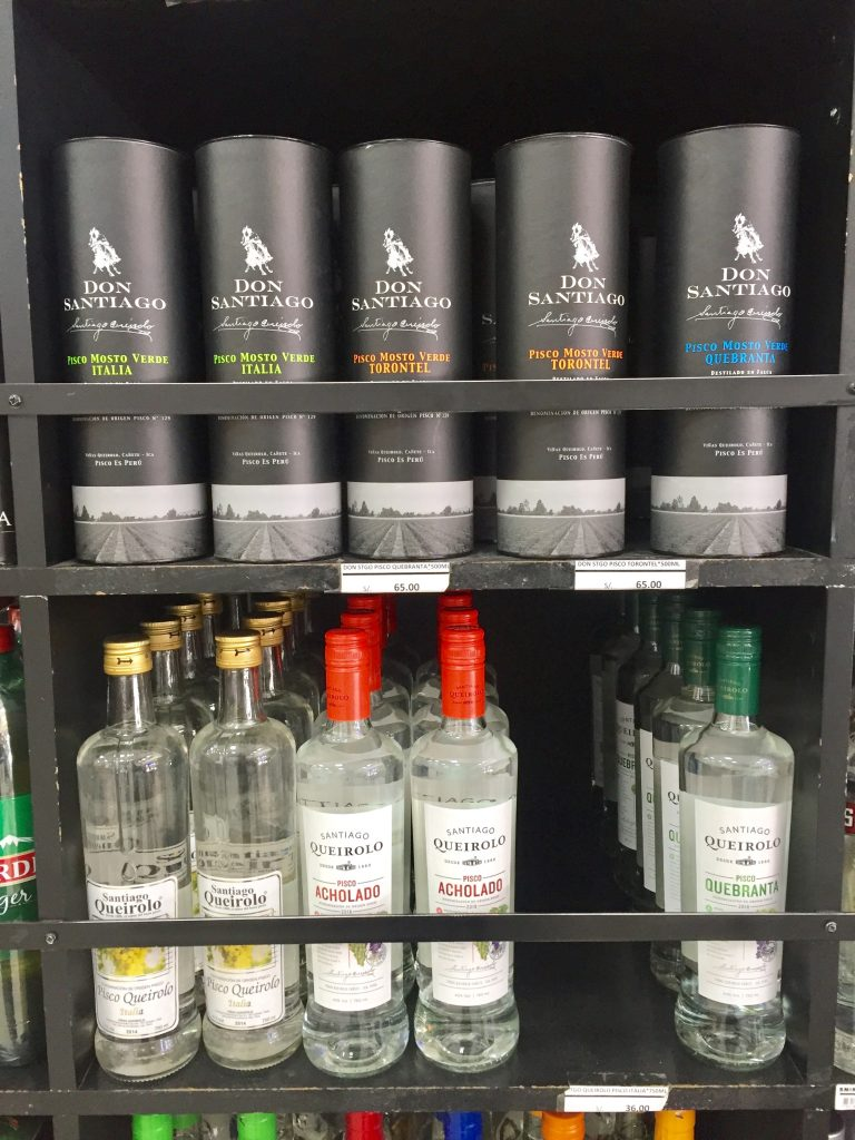 Pisco on display in a local store (David Knowlton)