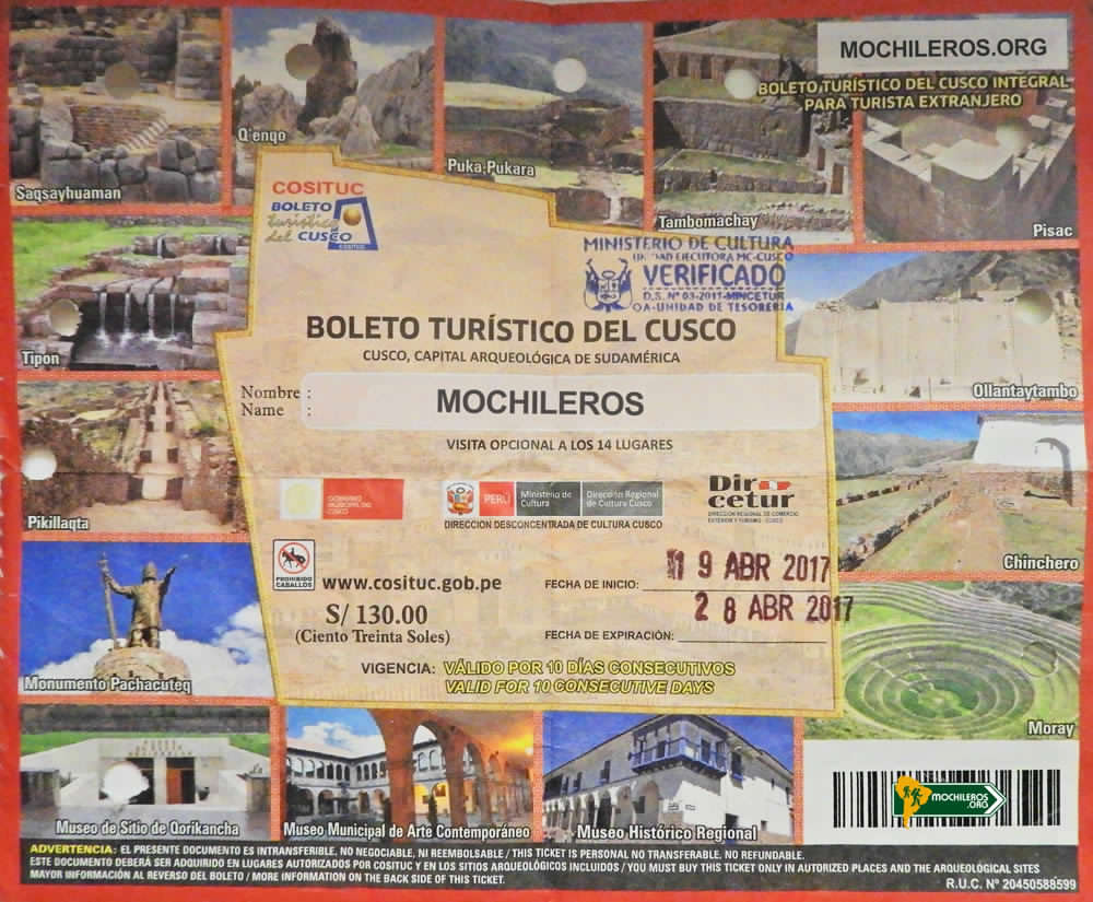 Cusco Tourist Ticket